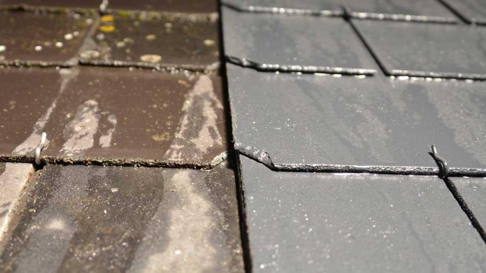 comparatif avant apres peinture toiture